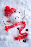 Melted Snowman. With knitted hat and scarf stock photos