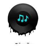 Melted vinyl record with musical notes Stock Image
