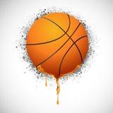 Melting Basketball. Illustration of melting basket ball on grungy background royalty free illustration