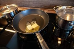 Melting butter in a pan Royalty Free Stock Photography