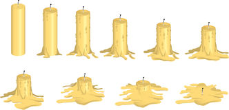 Melting candle. Series of illustrations showing a candle melting Royalty Free Stock Image