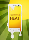 Melting cellphone during summer heat Royalty Free Stock Photo