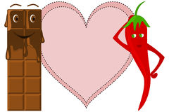 Melting Chocolate Bar with Red Chili and Heart Stock Photo