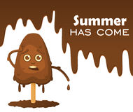 Melting chocolate ice cream on a stick with emotions. Melting chocolate with drops, text on the object `Summer has come`. Royalty Free Stock Image