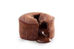 Melting chocolate pudding isolated on white Royalty Free Stock Image