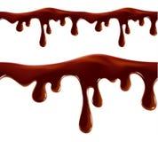Melting chocolate seamless border vector isolated Stock Image