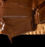 Melting chocolate on shortbread Royalty Free Stock Photo