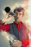 Melting Clarinet Man Stock Image