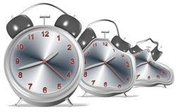 Melting clocks. 3d illustration of a group of clocks slowly melting Royalty Free Stock Images