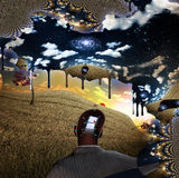 Melting cloud window man Royalty Free Stock Images