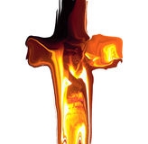 Melting cross. A melting cross ful of fire Royalty Free Stock Image