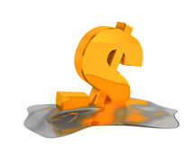 Melting dollar sign. Financial problem concept Royalty Free Stock Photography