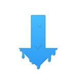 Melting down arrow. Download symbol illustration Stock Image