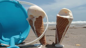 Melting, Dripping, Ice Cream Cones Stock Photo