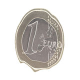 Melting Euro. Melting one euro coin isolated in white Royalty Free Stock Photo