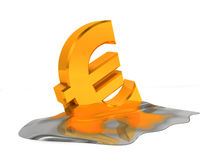 Melting euro sign. Financial problem concept Stock Image