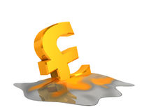 Melting euro sign. Melting pound sign. Financial problem concept Stock Photography