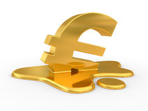 Melting euro sign. Royalty Free Stock Image