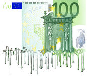 Melting European banknote. Conceptual view of 100 Euro banknote melting, isolated on white background Stock Photography