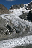 Melting glacier. Glacier high up in the Swiss alps melting due to global warming Stock Photo