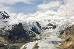 Melting glacier. Impressive mountain scenery with Austria's highest glacier shrinking because of global warming royalty free stock photography