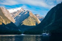 Melting Glacier at Harrison Cove in Milford Sound. Mountain and glacier view from the Cruise Boat at Harrison Cove in Milford Sound, Fiordland National Park, New Royalty Free Stock Photos