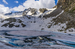 Melting glacier and the lake of clear blue water at an altitude of 2400 meters in the Alps Royalty Free Stock Photography