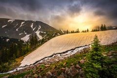 Melting Glacier Snow near lake Isabelle stock photography