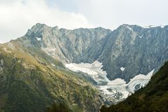 Melting glacier. View of a melting glacier in a mountain valley Stock Photos