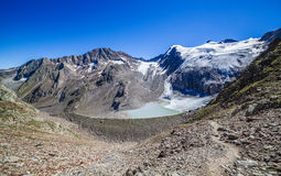 Melting glacier,waterfalls and lake in Stubai Alps Royalty Free Stock Photography