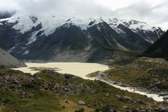 Melting glaciers in Mount Cook National Park Royalty Free Stock Photo