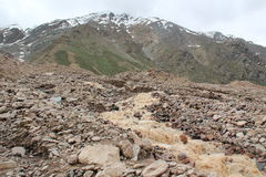 Melting of glaciers. Melting glaciers in the mountains of India Royalty Free Stock Photo