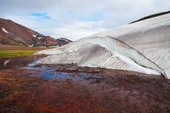 Melting glaciers in national park Landmannalaugar, Iceland Royalty Free Stock Image