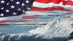 Melting glaciers with USA flag. Melting glaciers with USA national flag stock video footage