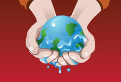 The Melting Globe. An image of melting earth clasped in the palms of the hand Royalty Free Stock Photography