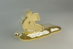 Melting Gold Dollar Sign Stock Image
