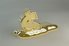 Melting Gold Dollar Sign. A 3D gold dollar sign melting into a golden puddle Stock Image