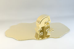 Melting Gold Pound Sign Stock Images