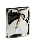 Melting hard drive into liquid metal. Hard drive destruction royalty free stock image
