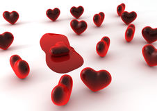 Melting heart. A lot of hearts on a white background global illumination Stock Image