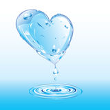Melting heart of ice. Melting blue heart of ice with water drops vector illustration