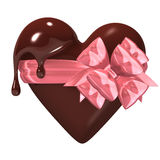 Melting Heart-shaped Chocolate With Ribbon Stock Images