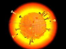 Melting hot sun. Illustration of extremely hot sun shape melting nails and metal objects in centre with black background Royalty Free Stock Photo