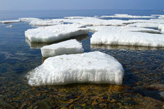 Melting ice. In the shallow waters of the sea Royalty Free Stock Image