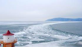 Melting ice. At the Baikal lake in winter Royalty Free Stock Image