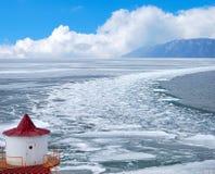 Melting ice. Lake Baikal in winter. Melting ice Royalty Free Stock Images