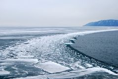 Melting ice at the Baikal lake Royalty Free Stock Photos