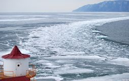 Melting ice on the Baikal lake in winter. The top view Royalty Free Stock Photography