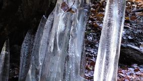 Melting ice. Melting block of ice in the spring days stock footage