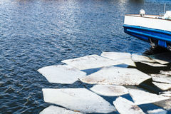 Melting ice blocks in river in spring Royalty Free Stock Photography